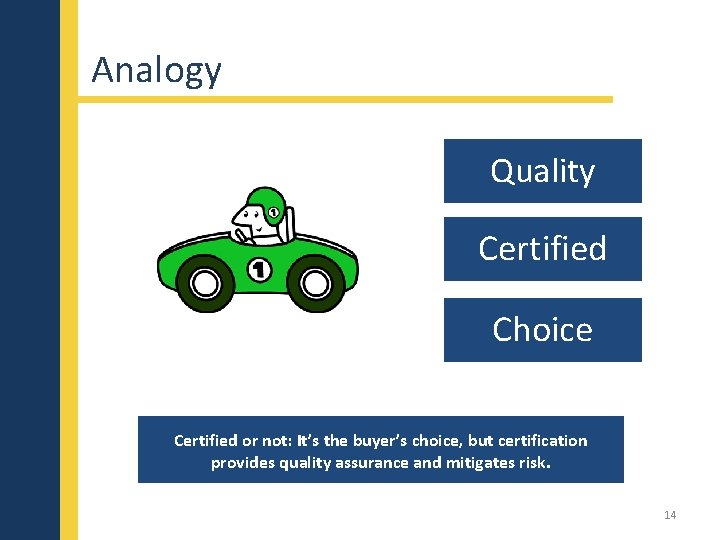 Analogy Quality Certified Choice Certified or not: It's the buyer's choice, but certification provides