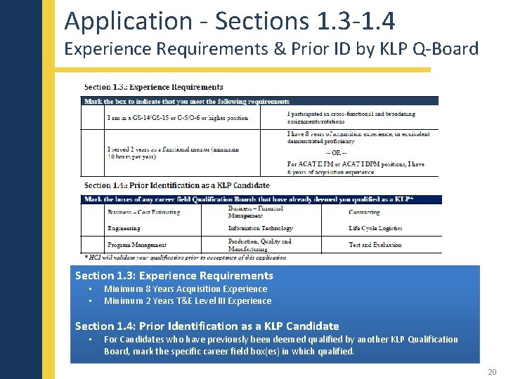 Application - Sections 1. 3 -1. 4 Experience Requirements & Prior ID by KLP