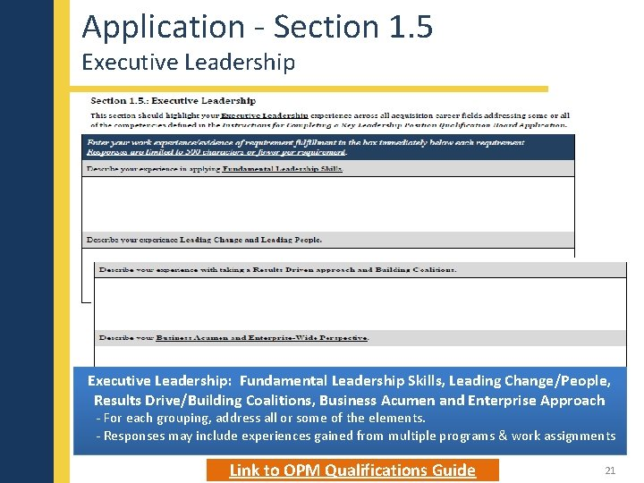 Application - Section 1. 5 Executive Leadership: Fundamental Leadership Skills, Leading Change/People, Results Drive/Building