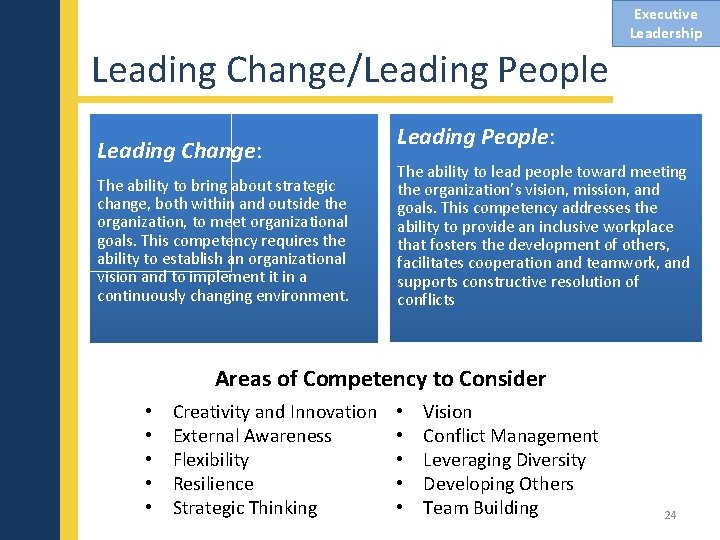 Executive Leadership Leading Change/Leading People Leading Change: The ability to bring about strategic change,