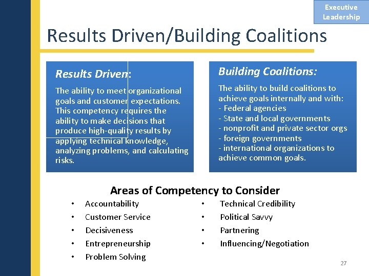 Executive Leadership Results Driven/Building Coalitions Results Driven: Building Coalitions: The ability to meet organizational