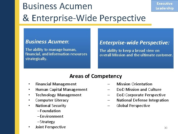 Business Acumen & Enterprise-Wide Perspective Executive Leadership Business Acumen: Enterprise-wide Perspective: The ability to