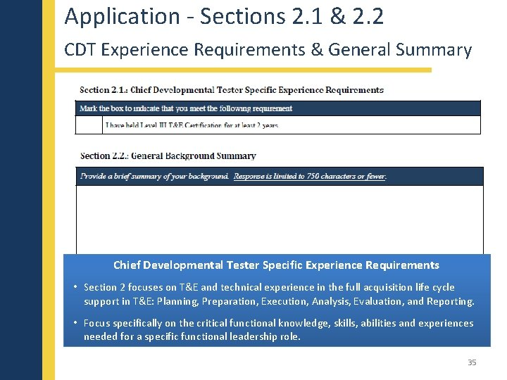 Application - Sections 2. 1 & 2. 2 CDT Experience Requirements & General Summary