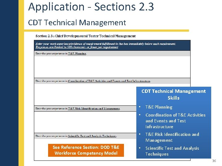 Application - Sections 2. 3 CDT Technical Management Skills See Reference Section: DOD T&E