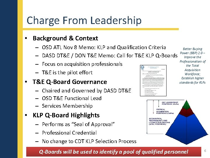 Charge From Leadership • Background & Context – – OSD ATL Nov 8 Memo: