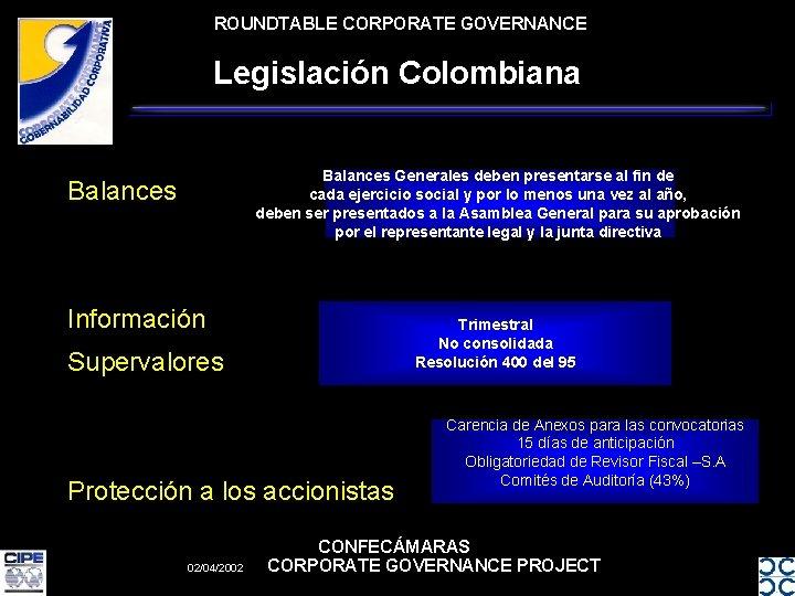 ROUNDTABLE CORPORATE GOVERNANCE Legislación Colombiana Balances Generales deben presentarse al fin de cada ejercicio