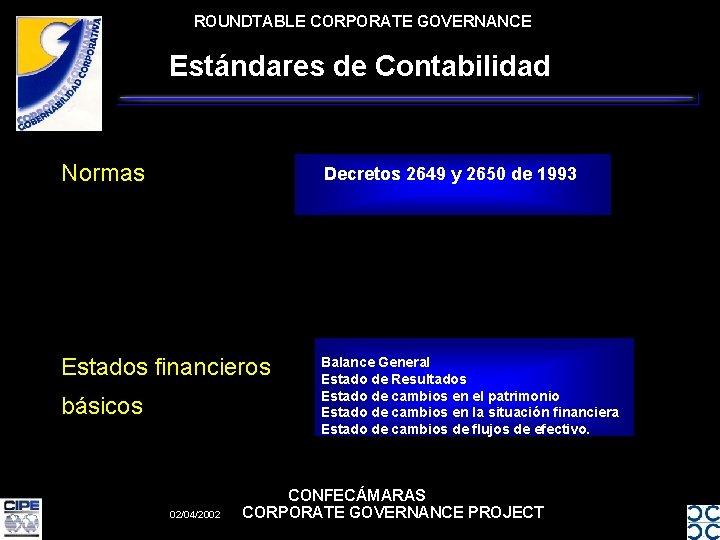 ROUNDTABLE CORPORATE GOVERNANCE Estándares de Contabilidad Normas Decretos 2649 y 2650 de 1993 Estados