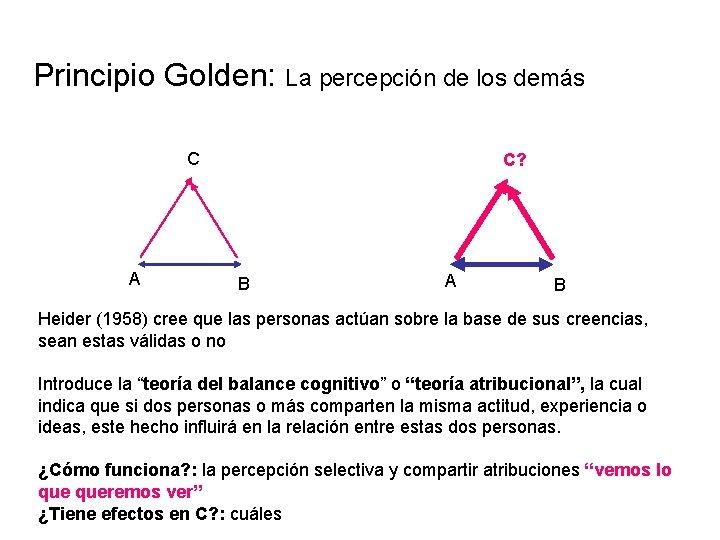 Principio Golden: La percepción de los demás C A C? B A B Heider