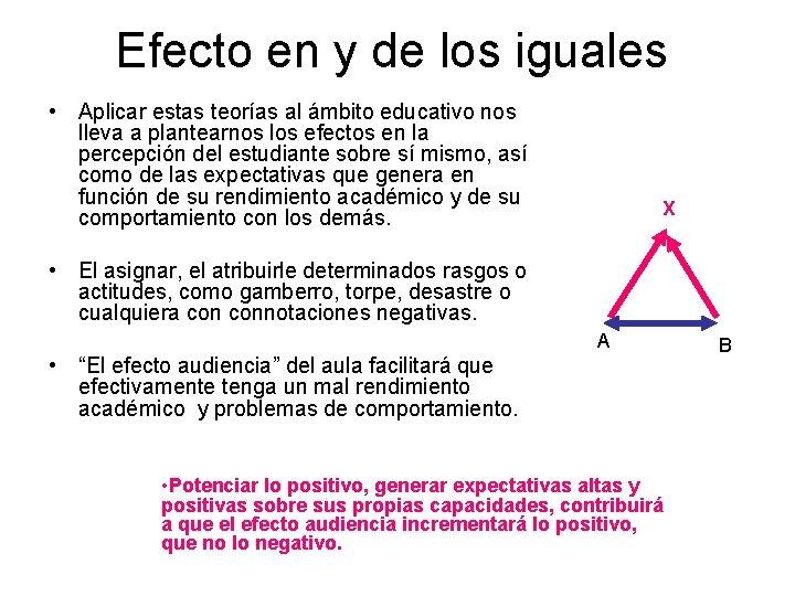 Efecto en y de los iguales • Aplicar estas teorías al ámbito educativo nos