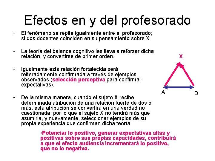 Efectos en y del profesorado • El fenómeno se repite igualmente entre el profesorado;