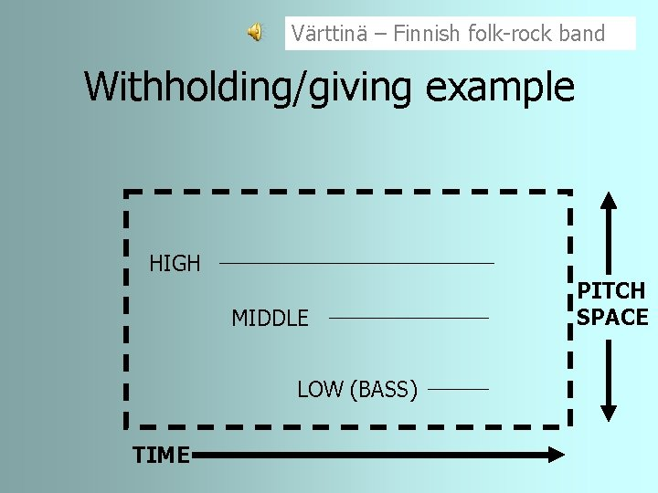 Värttinä – Finnish folk-rock band Withholding/giving example HIGH MIDDLE LOW (BASS) TIME PITCH SPACE