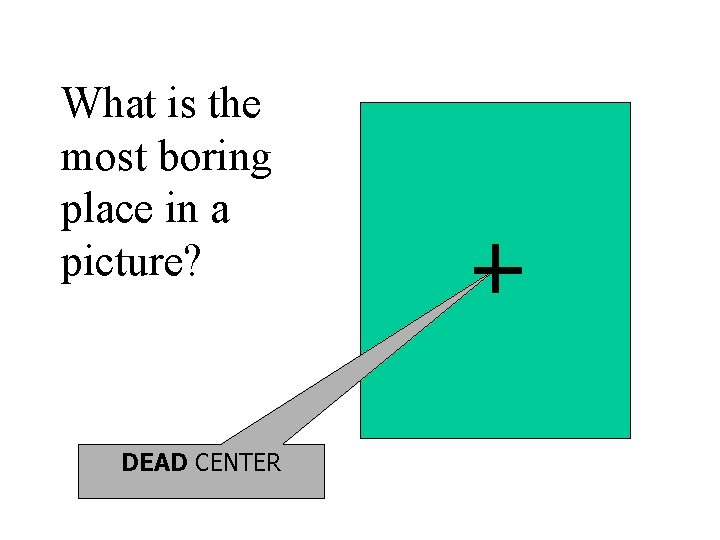 What is the most boring place in a picture? DEAD CENTER