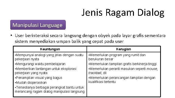 Jenis Ragam Dialog Manipulasi Language • User berinteraksi secara langsung dengan obyek pada layar