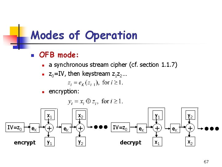 Modes of Operation n OFB mode: n a synchronous stream cipher (cf. section 1.