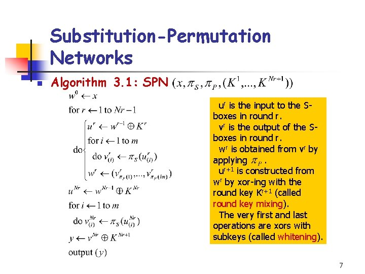 Substitution-Permutation Networks n Algorithm 3. 1: SPN ur is the input to the Sboxes