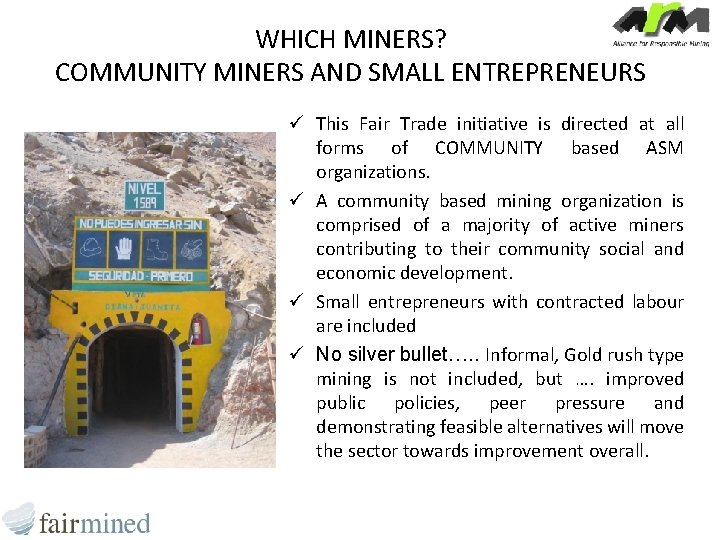 WHICH MINERS? COMMUNITY MINERS AND SMALL ENTREPRENEURS ü This Fair Trade initiative is directed