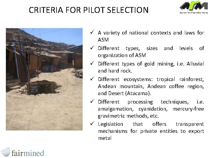 CRITERIA FOR PILOT SELECTION ü A variety of national contexts and laws for ASM
