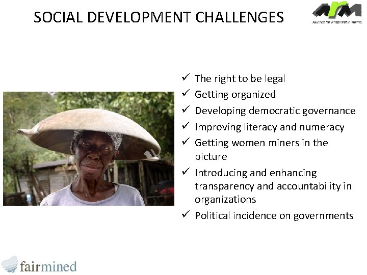 SOCIAL DEVELOPMENT CHALLENGES The right to be legal Getting organized Developing democratic governance Improving