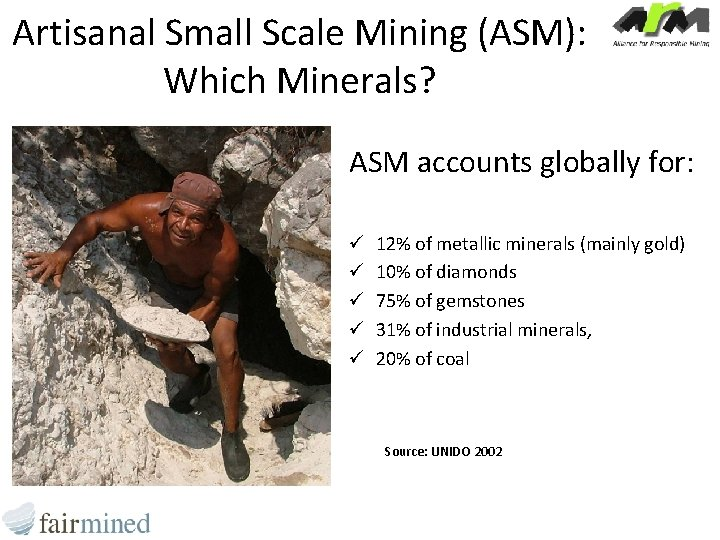 Artisanal Small Scale Mining (ASM): Which Minerals? ASM accounts globally for: ü ü ü