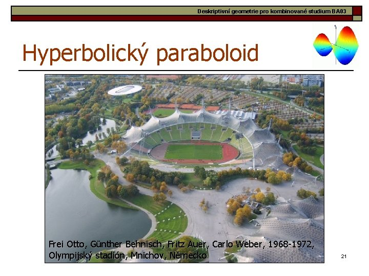 Deskriptivní geometrie pro kombinované studium BA 03 Hyperbolický paraboloid Frei Otto, Günther Behnisch, Fritz