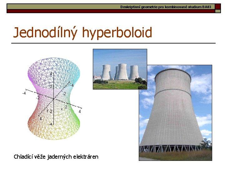 Deskriptivní geometrie pro kombinované studium BA 03 Jednodílný hyperboloid Chladící věže jaderných elektráren 26