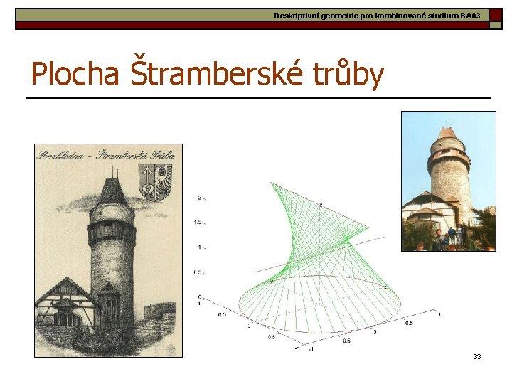 Deskriptivní geometrie pro kombinované studium BA 03 Plocha Štramberské trůby 33