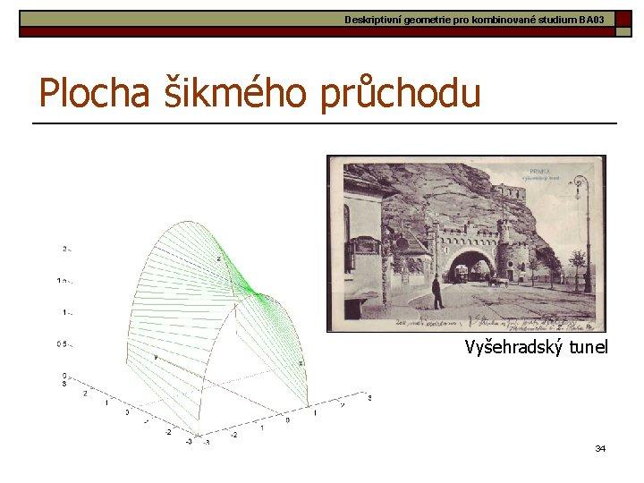Deskriptivní geometrie pro kombinované studium BA 03 Plocha šikmého průchodu Vyšehradský tunel 34