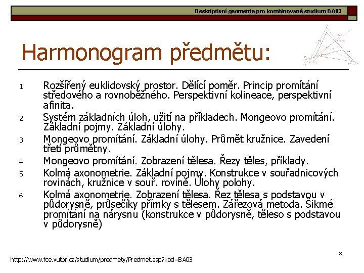 Deskriptivní geometrie pro kombinované studium BA 03 Harmonogram předmětu: 1. 2. 3. 4. 5.