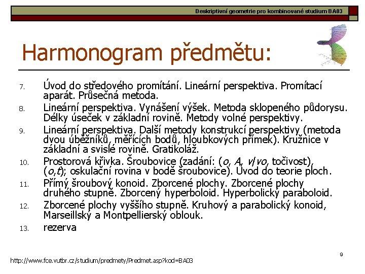 Deskriptivní geometrie pro kombinované studium BA 03 Harmonogram předmětu: 7. 8. 9. 10. 11.