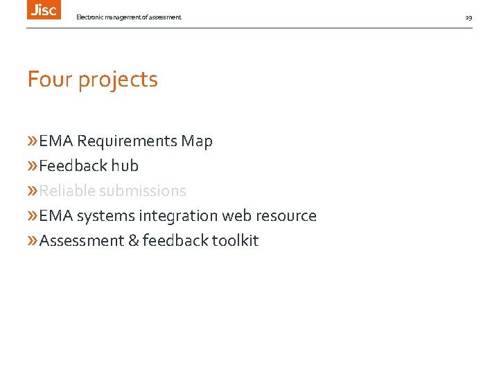 Electronic management of assessment Four projects » EMA Requirements Map » Feedback hub »