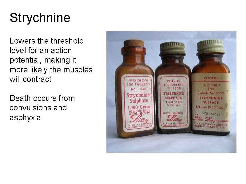 Strychnine Lowers the threshold level for an action potential, making it more likely the