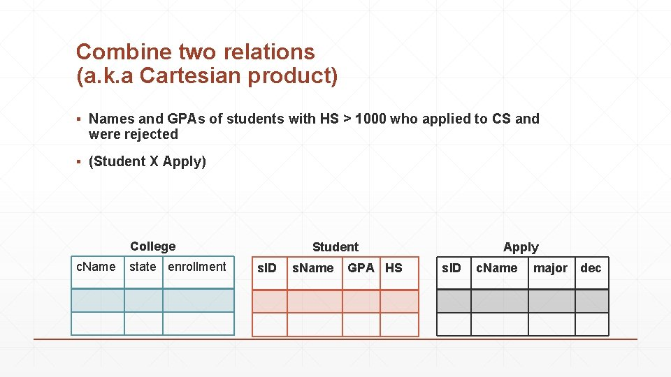 Combine two relations (a. k. a Cartesian product) ▪ Names and GPAs of students