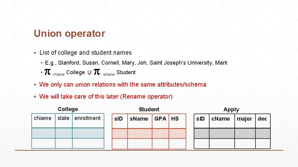Union operator ▪ List of college and student names ▪ E. g. , Stanford,