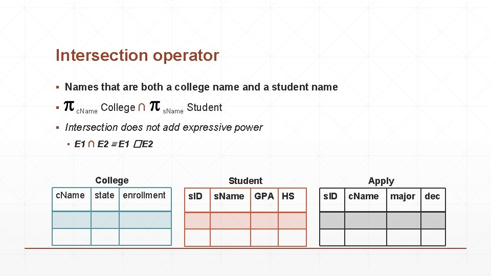 Intersection operator ▪ Names that are both a college name and a student name