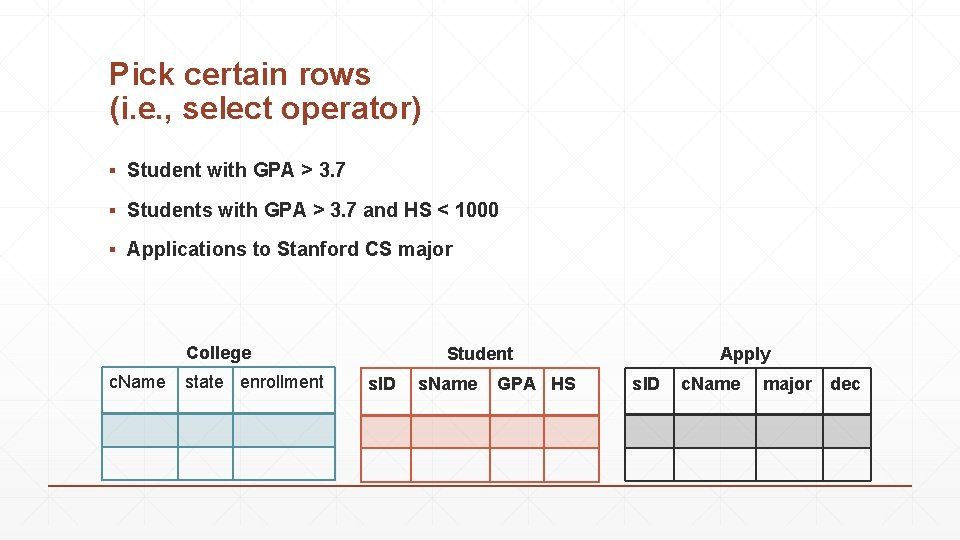 Pick certain rows (i. e. , select operator) ▪ Student with GPA > 3.