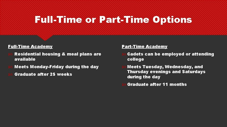Full-Time or Part-Time Options Full-Time Academy Part-Time Academy Residential housing & meal plans are