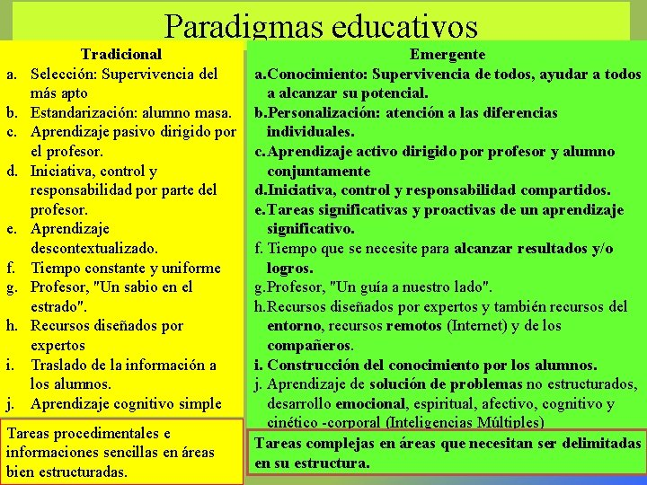 Paradigmas educativos a. b. c. d. e. f. g. h. i. j. Tradicional Selección: