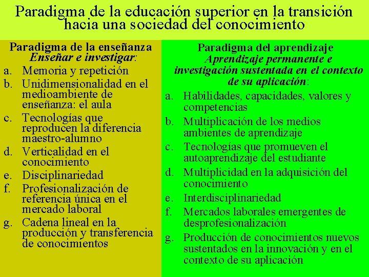Paradigma de la educación superior en la transición hacia una sociedad del conocimiento Paradigma