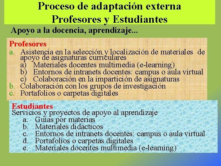 Proceso de adaptación externa Profesores y Estudiantes Apoyo a la docencia, aprendizaje. . .