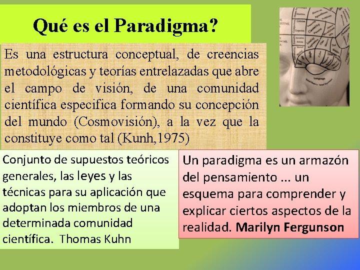 Qué es el Paradigma? Es una estructura conceptual, de creencias metodológicas y teorías entrelazadas