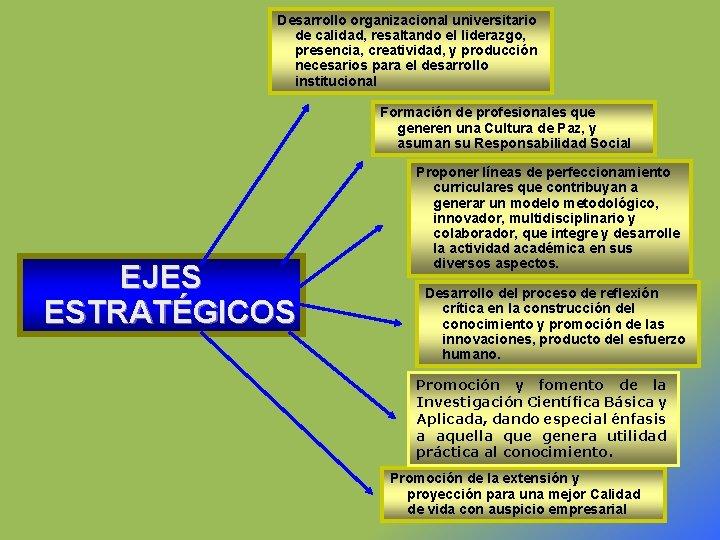 Desarrollo organizacional universitario de calidad, resaltando el liderazgo, presencia, creatividad, y producción necesarios para