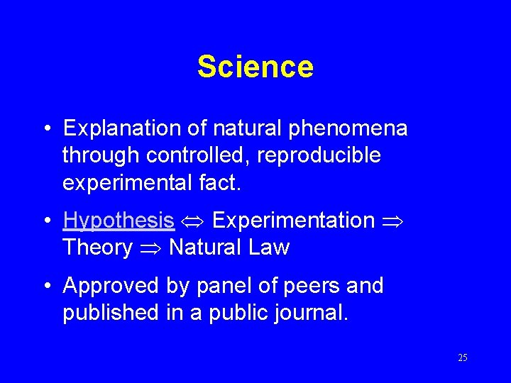 Science • Explanation of natural phenomena through controlled, reproducible experimental fact. • Hypothesis Experimentation