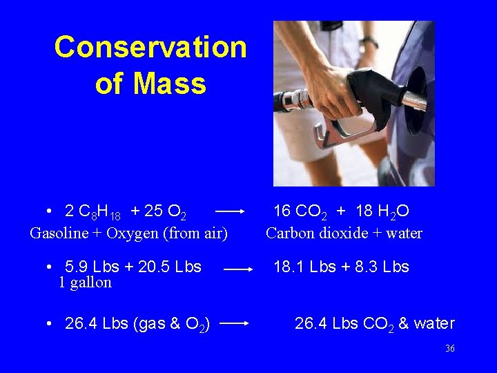 Conservation of Mass • 2 C 8 H 18 + 25 O 2 Gasoline