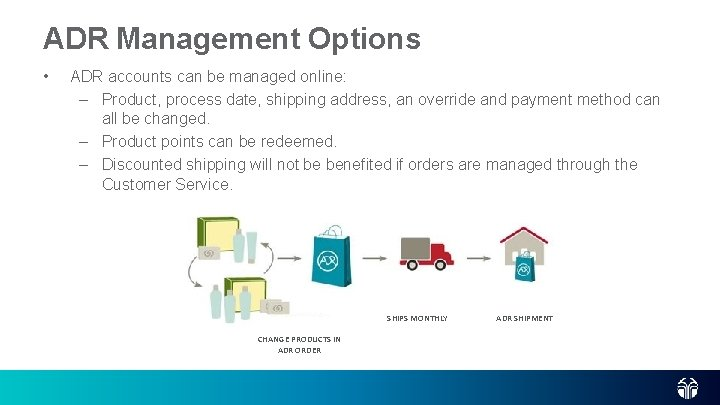 ADR Management Options • ADR accounts can be managed online: – Product, process date,