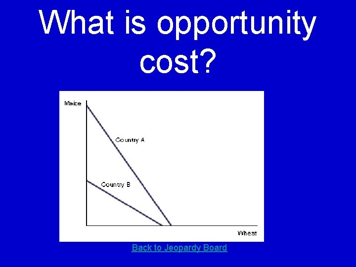 What is opportunity cost? Back to Jeopardy Board