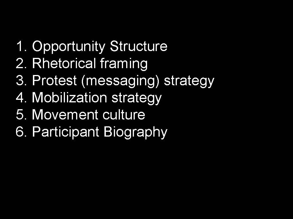 1. Opportunity Structure 2. Rhetorical framing 3. Protest (messaging) strategy 4. Mobilization strategy 5.