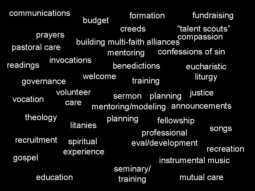 "communications budget formation fundraising ""talent scouts"" prayers compassion building multi-faith alliances pastoral care confessions"
