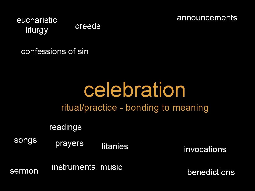 eucharistic liturgy announcements creeds confessions of sin celebration ritual/practice - bonding to meaning readings