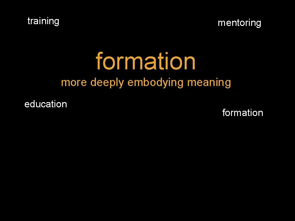 training mentoring formation more deeply embodying meaning education formation