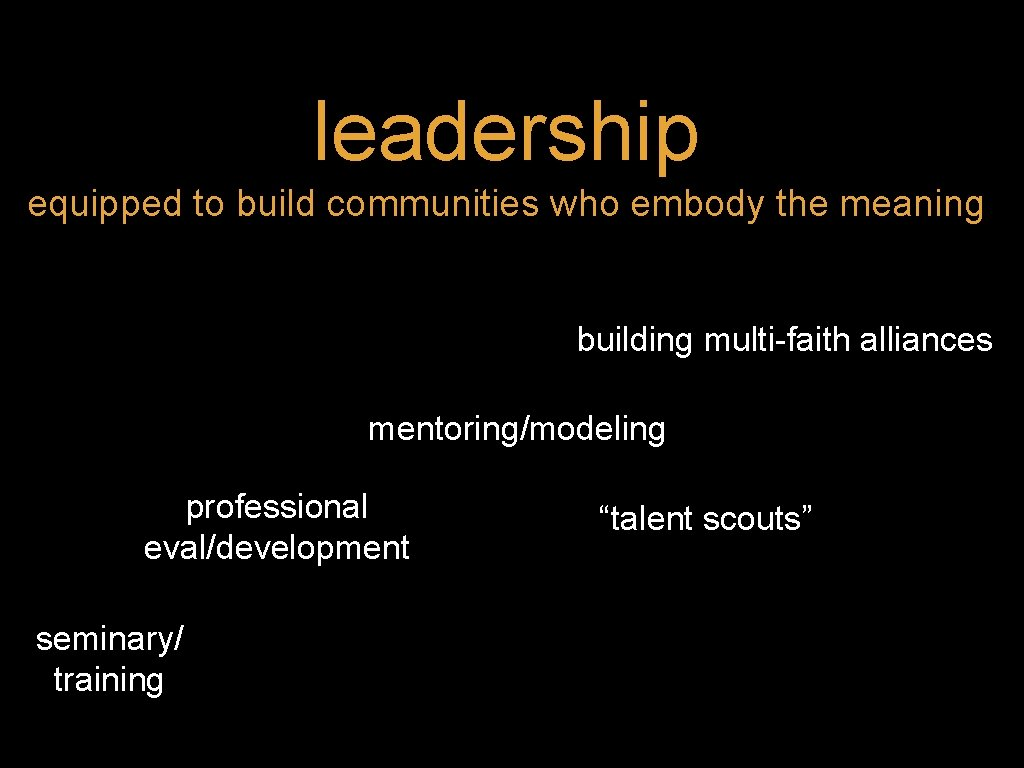 leadership equipped to build communities who embody the meaning building multi-faith alliances mentoring/modeling professional